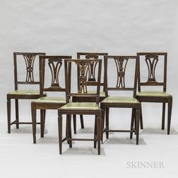 Set of Six Walnut Dining Chairs