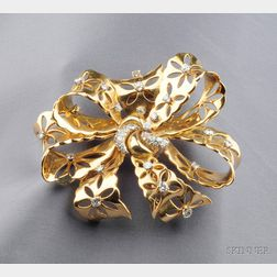"18kt Gold, Platinum, and Diamond ""Lace"" Clip/Brooch, Van Cleef & Arpels, New York"