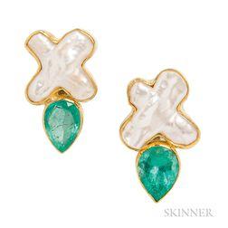 22kt Gold, Freshwater Biwa Pearl, and Emerald Earrings, Sam Shaw