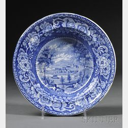 """Historical Blue Transferware""""HOBART TOWN"""" Soup Plate"""