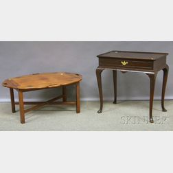 Chippendale-style Mahogany Butlers Tray Table and a Quigley Queen Anne-style Walnut Tray-top Tea Table.