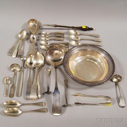 Group of Assorted Sterling and Coin Silver Tableware and Flatware