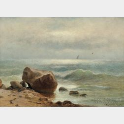 Charles Henry Gifford (American, 1839-1904)      Surf Rolling in to a Rocky Shoal