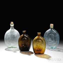 Four Blown-molded Glass Flasks