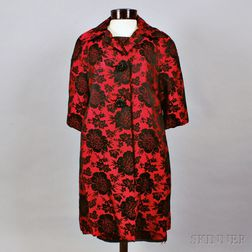 Hattie Carnegie Red and Black Brocade Cocktail Dress and Jacket