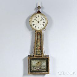 """Aaron Willard"" Gilt-front Patent Timepiece or ""Banjo"" Clock"
