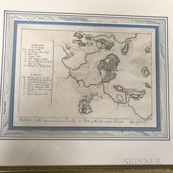 Framed Engraving Boston & The Surrounding Country, & Posts of the American Troops