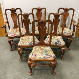 Set of Six Queen Anne-style Carved Walnut Dining Chairs