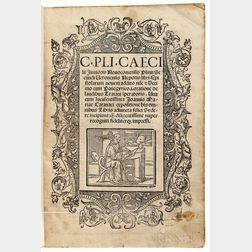 Pliny the Younger, aka Plinius Caecilius Secundus (61-c. 113) Epistolarum Novem Addito nu[n]c et Decimo cum Panegyrico.