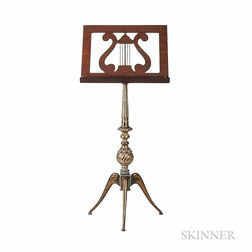 Neoclassical-style Cast Brass and Mahogany Veneer Music Stand, c. 1900