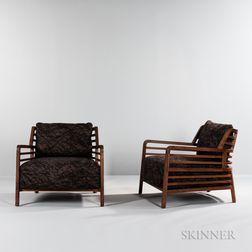 Two Ligne Roset Walnut Flax Armchairs