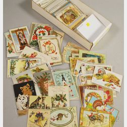 Approximately 200 Early 20th Century New Year and Thanksgiving Postcards