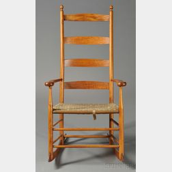 Shaker-type Maple Slat-back Armed Rocking Chair