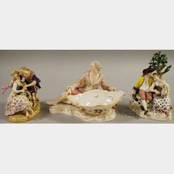 Three Assorted Meissen Hand-painted Porcelain Figural Groups