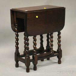 William & Mary-style Oak Drop-leaf Gate-leg Table with Rope   Turnings