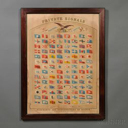 PRIVATE SIGNALS of the MERCHANTS of BOSTON   Chromolithograph