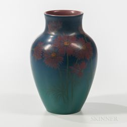 Harriet E. Wilcox for Rookwood Pottery Matte Vase with Flowers
