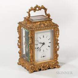 Repousse Gilt-brass Carriage Clock