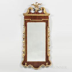 Georgian-style Mahogany-veneered and Carved Mirror