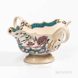 Staffordshire Enamel-decorated Salt-glazed Stoneware Sauceboat