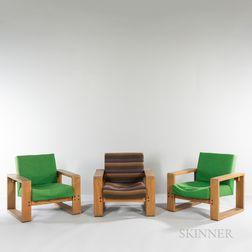 Three Hans Krieks Sled-base Lounge Chairs