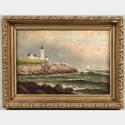 American School, 19th/20th Century      Seascape with Lighthouse