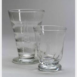 Two Orrefors Etched Glass Vases