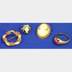 Cameo, Cameo Ring, Circle Brooch, and Ring.