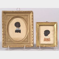 American School, 19th Century      Two Silhouette Portraits of Children.