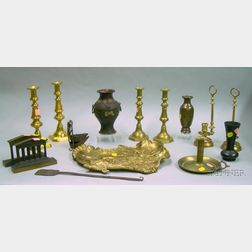 Fifteen Brass and Metal Items