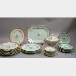 Thirty-piece Adams Hand-painted Calyx Ware Partial Dinner Service.
