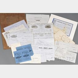 Miscellaneous Group of Shipping Papers, Merchant Receipts, Passage Ticket, and   More,