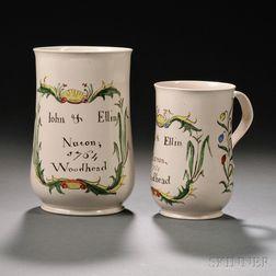 Two Staffordshire Enameled Salt-glazed Stoneware Commemorative Tankards