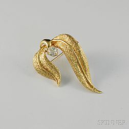 14kt Gold and Diamond Leaf Brooch