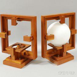 Pair of Frank Lloyd Wright Cherry Taliesin Reproduction Wall Lamps