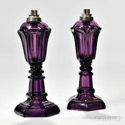 Pair of Amethyst Pressed Glass Loop Pattern Lamps