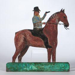 Painted Tin Man on Horseback Weathervane