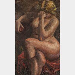 Stephano Cusumano (American, 1912-1975)      Double-sided Work: Seated Nude