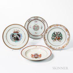 Four Armorial Export Porcelain Plates