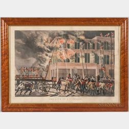 Framed Nathaniel Currier The Life of a Fireman   Lithograph