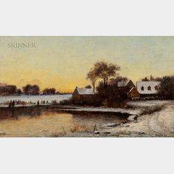 Joseph Morviller (American, 1800-1870)      Winter Landscape at Dusk