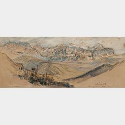 Samuel Colman (American, 1832-1920)      Two Watercolor Studies: The Grödner Joch