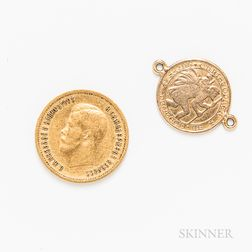 1899 Russian 10 Rouble Gold Coin and a 14kt Gold Charm.     Estimate $300-500