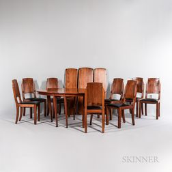Art Deco Dining Table and Eight Side Chairs