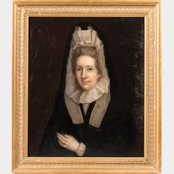 American School, Early 19th Century      Portrait of a Lady with a Ruffled Bonnet