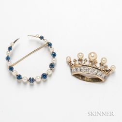 14kt Gold, Pearl, and Sapphire Crescent Brooch and a 14kt Gold, Diamond, and Pearl Crown Brooch