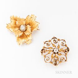 Two 14kt Gold and Diamond Pendant/Brooches