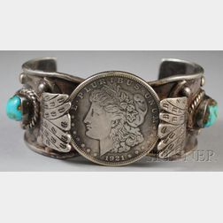 Navajo Turquoise, Coral, and Silver Dollar Cuff Bracelet