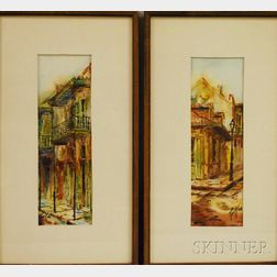 Robert M. Rucker (American, 1932-2001)      Two Views of The French Quarter, New Orleans: Wrought Iron Balconies