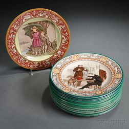 Fourteen Assorted Wedgwood Polychrome Transfer Printed Plates